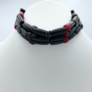 Gothic Red & Black Beaded Cord Choker Tie Necklace